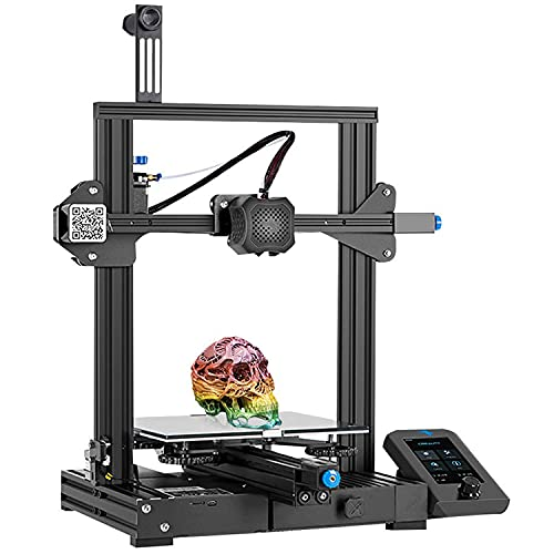 Creality Official Ender 3 V2 3D Printer, 2020 Newest FDM All Metal 3D Printers Kit with Upgraded Silent Motherboard, Carborundum Glass Bed, Mean Well Power Supply, Print Size 220x220x250mm