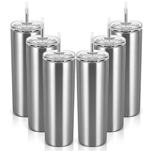 20 Oz Stainless Steel Skinny Tumbler, 6 Pack Double Wall Insulated Tumblers with Lids and Straws,...