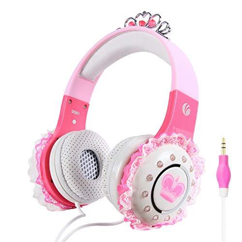VCOM Kinderkopfhörer, Over Ear Princess Stereo-Headsets Kinderfreundlicher Kopfhörer mit Lautstärkebegrenzungsfunktion, 3,5mm-Buchse Kompatibel für iPad Kindle Fire Tablet Smartphones Laptop MP4(Pink)