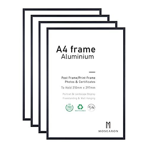 A4-Fotorahmen, 4er-Pack-21x30cm schwarzer Bilderrahmen, Zertifikatsrahmen für Wandmontage oder Tischaufsteller, 4er-Set