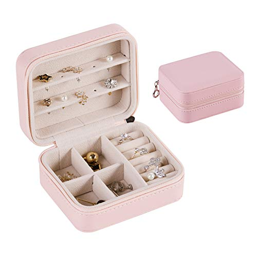 JKJ Jewellery Box, Jewellery Organiser, Jewellery Storage, PU Leather Various Compartments, Removable Spacer, for Girls Women Premium Jewellery Case