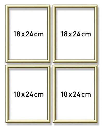 Schipper 605170704 - Malen nach Zahlen - Quattro Alurahmen je 18 x 24 cm, goldglänzend ohne Glas für Ihr Kunstwerk, einfache Selbstmontage, Gold