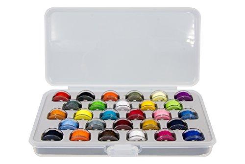 Ultima Bobbin Holder - Bobbin Case, 28 Pre-Wound Bobbins Assorted Colors - Plastic Bobbin Storage Boxes - Plastic Bobbins - Threaded Bobbins - (Bobbin Box w28 Pre-Wound Bobbins Assorted Colors)