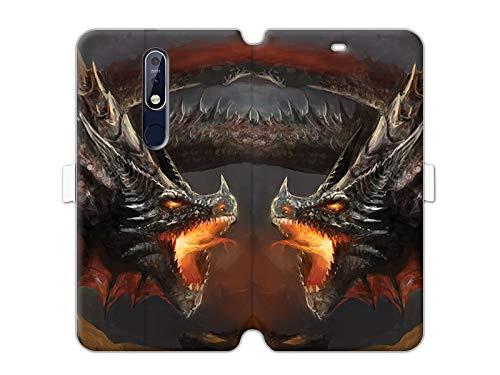 etuo Handyhülle für Nokia 7.1 - Hülle Wallet Book Fantastic - Böser Drache - Handyhülle Schutzhülle Etui Hülle Cover Tasche für Handy