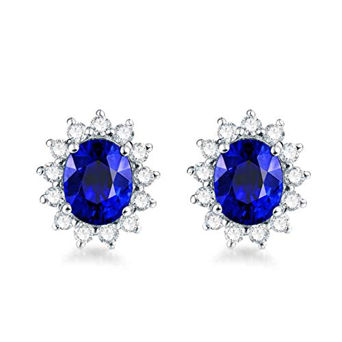 Daesar Pendientes Mujer Oro Blanco 18K,Flor con Oval Zafiro Azul 1.7ct Diamante 0.39ct,Plata Azul