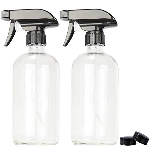 2 Pack 16 oz Clear Boston Glass Spray Bottles,Refillable Trigger Sprayers with Mist & Stream for Essential Oils, Bath, Beauty, Hair & Cleaning Products.Include 2 Durable Caps and 4 Chalk Labels.