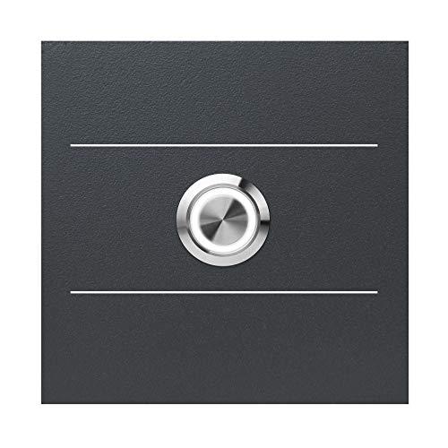 LED-Klingel anthrazit-grau (RAL 7016) MOCAVI Ring 505 G01 V4A-Edelstahl Klingel-Taster mit Edelstahl-Detail, quadratisch (8,5 cm), modern, matt