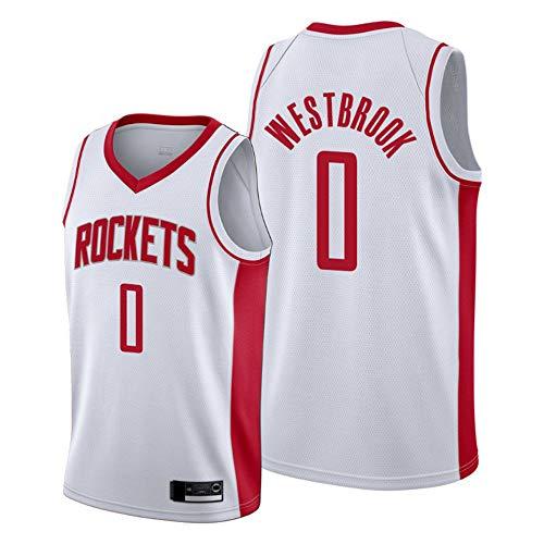 Camiseta Deportiva De Baloncesto Para Hombre, Camiseta De La NBA Houston Rockets # 0 Russell Westbrook, Chaleco De Uniformes Transpirables, Ropa Deportiva De Entrenamiento Sin Mangas,M(170~175CM)