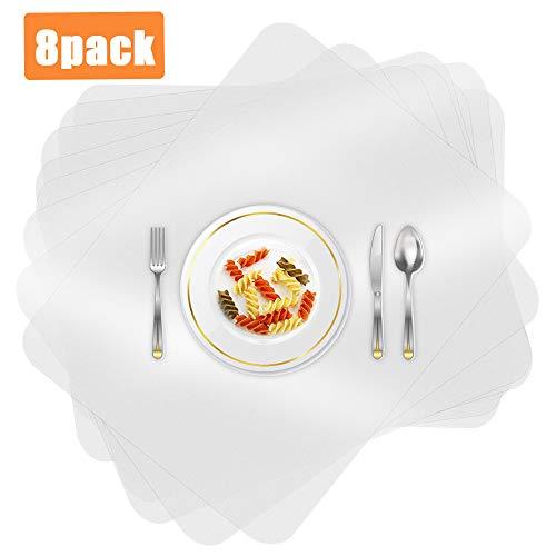 O-Kinee 8 Stück Tischset Transparent, Kunststoff Platzdeckchen, rutschfest Abwaschbar Platzset, Hitzebeständige Tischset für Tisch, Esszimmer, Küche