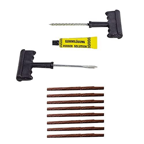 Colors are free Kit repara pinchazos - Valido para Todo Tipo de neumaticos de Coche y Moto - Kit antipinchazos Coche con 8 mechas pinchazos Coche
