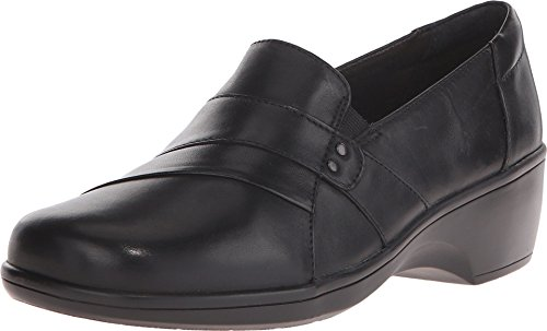Clarks Women's May Marigold Slip-On Loafer, Black Leather, 9.5 W US