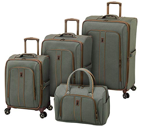 LONDON FOG Newcastle Softside Expandable Spinner Luggage, Slate Bronze, 4 Piece Set