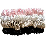 PINNE Silk Hair Scrunchies 4 Pc 100% Mulberry Silk - 600 Thread Count 19 Mommme Skinny Thin Scrunchie