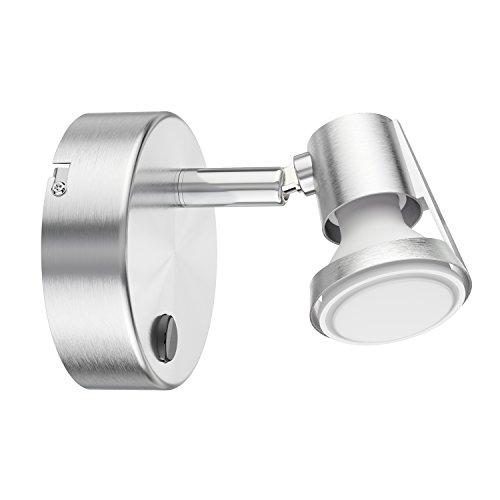 ledscom.de Wand-Leuchte Leonis, einflammig mit Schalter inkl. 460lm LED GU10 Lampe, weiß