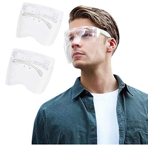 Dissme Gesichtsschutz Visier Brille Erwachsene Gesichtsvisier Mundschutz Kunststoff Gesichtsschild Wiederverwendbare Herren Damen Transparente Schutzvisier für Augenschutz Mund und Nasenschutz