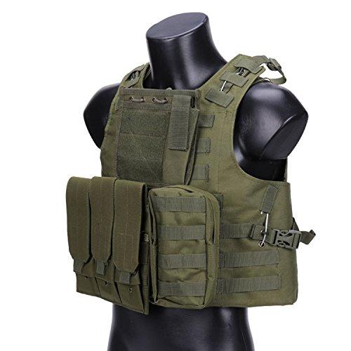 QMFIVE Veste Airsoft, molle rrv aggressione contro giubbotto con borsa/traning giubbotto per la tutela della sicurezza airsoft outdoor (OD)