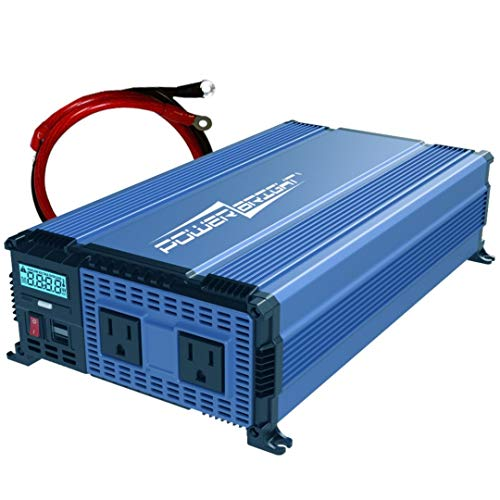 PowerBright 2000 Watts Power Inverter 12V to 110V, Modified Sine Wave Car Inverter, DC to AC Converter with Dual 110 Volts AC Outlets and 2 USB Ports 2.4A ea - ETL Approved Under UL Std 458