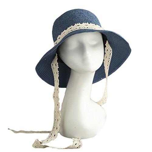 SUSHI Correa de Encaje Sombrero de Paja Sombrero de Sol Transpirable para Mujer de Verano Sombrero de Pescador de ala pequeña Sombrero a Prueba de Viento (Color : Blue)