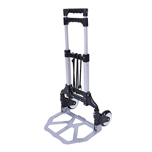 Heavy Duty Aluminium Folding Luggage Trolley Lightweight Foldable Small Sack Truck Folding Hand Truck Hand Luggage Cart Trolley with Two Bungees and PU Wheels
