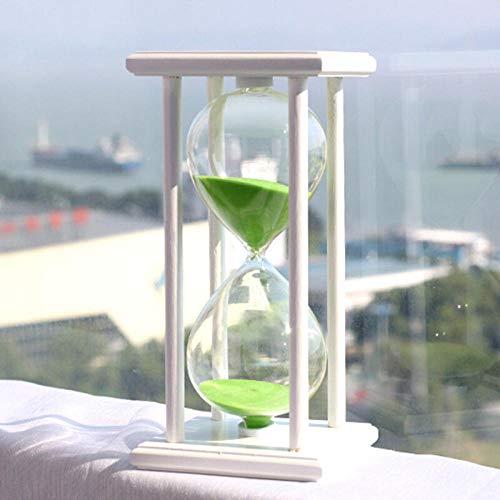 reloj Reloj de arena, temporizador, reloj de arena-Marco blanco arena verde -15 minutos cronómetro