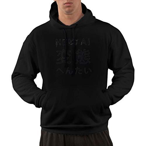 Men's Hoodie Sweatshirt Hentai Walking Black New Classic Minimalist Style Black L