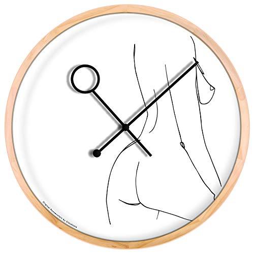 Cloudnola The Prance klok – Wandecoratie – Lijn kunst – Moderne Designer wandklok- Hout, 42 cm diameter, geruisloos uurwerk, werkt op batterijen