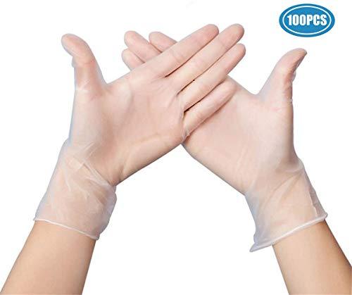 100 Stück klare Einweg-Vinyl Handschuhe PVC-Handschuhe, latexfrei, puderfrei, lebensmittelecht für den Lebensmittelservice, Küchen- und Haushaltshygiene (L)