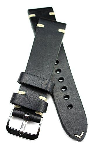 RIOS 1931 22mm Herren Leder Deutsch Uhrenarmband Vintage Pilot schwarz