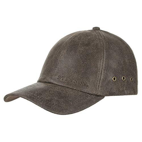 Stetson Liberty Ledercap Herren - One Size (ca. 55-60 cm) Basecap - Größenverstellbare Baseballcap aus Vintage-Leder - Schirmmütze mit Markenstickerei und Luftösen - Sommer/Winter braun One Size