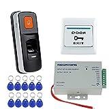 NN99 Kit de sistema de control de acceso por huella dactilar de puerta RFID Biométrico + DC12V / 3A Fuente de alimentación + Botón de salida + 10pcs125KHz Llaves, sin cerraduras eléctricas