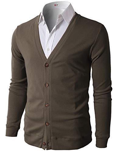 H2H Mens Casual Slim Fit Basic Designed Cotton Cardigan, CMOCAL012-BROWN, US L (Asia XL)
