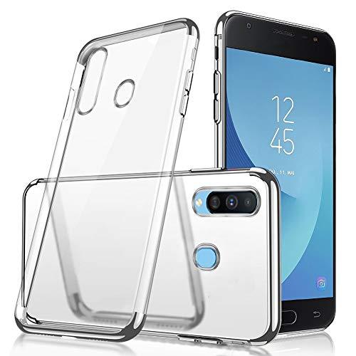 QPOLLY Kompatibel mit Samsung Galaxy A60 Hülle Glänzend Kristall klar Silikon TPU Schutzhülle Überzug TPU Durchsichtig Handy Tasche Ultra Dünn Soft Silikon Handyhülle Case Bumper,Silber