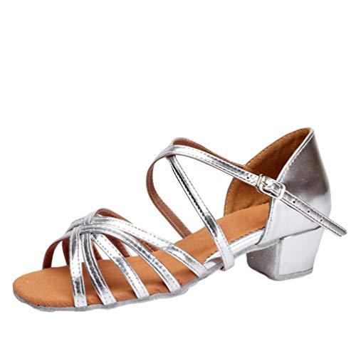 LaoZan Damen Mädchen Kleinkind Kinder Salsa Tanzschuhe Latein Tango Tanz Pumps Sandalen Party Schuhe (Silber, Größe 26)