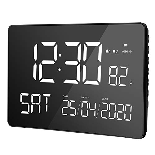 "LIORQUE Digital Alarm Clock, 11.2"" Large Curved Dimmable LED Screen, Digital Day Clock with Dual Alarms, Calendar, Weekend Mode, Indoor Temperature, 12/24H, DST for Senior Kid"