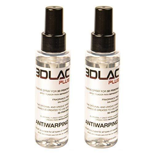 2 Stück 3DLAC Plus Fixierspray Adhesive für 3D Drucker mit Doppelter Haftungskraft und Antiwarping von hoher Qualität mit neuer Formel, 2x 100ml