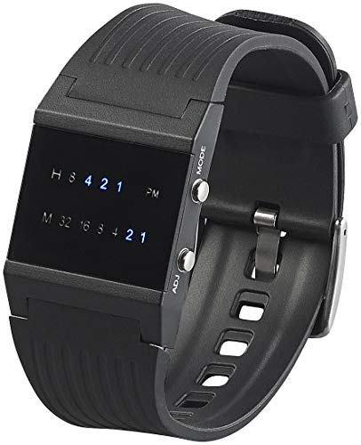 St. Leonhard Binäre Uhr: Binär-Armbanduhr Future Line mit Blauer Anzeige, für Herren (Digital Armbanduhr)