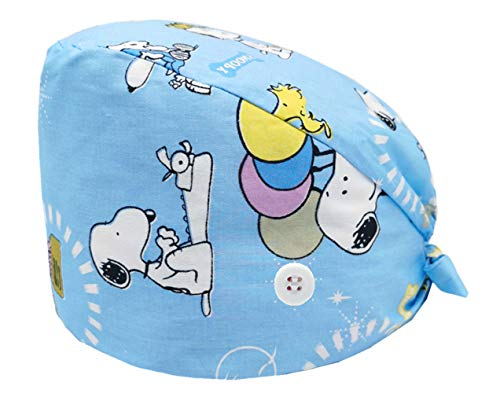 Cloudkids Sombrero Enfermera Unisex Ajustable Robin Hat Estampado Animal Sombrero Quirofano Reutilizable Dentista Gorro Gorro de Trabajo Algodón para Pelo Largo Corto (Can)
