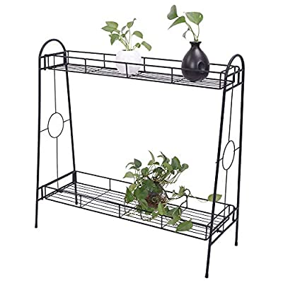 Plant Stand Metal Potted Flower Holder for 2-Ti...