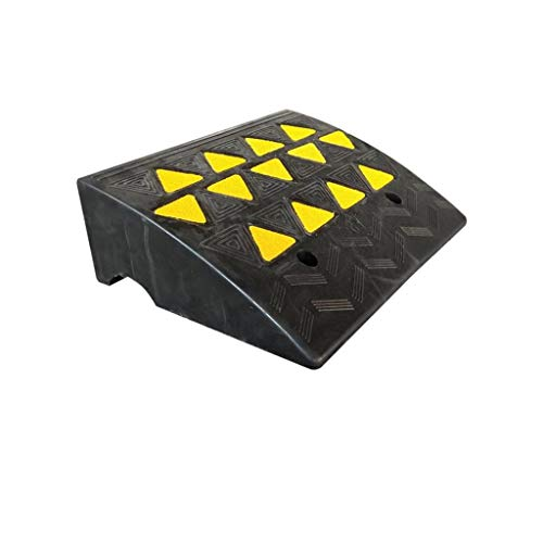 CSQ-Ramps Rubber Curb Ramps, transporteren laadbruggen Multifunctionele Motorcycle Ramps/zwart met gele Patroon van de Driehoek Curb Ramps (Color : Black+Yellow, Size : 49 * 38 * 16cm)