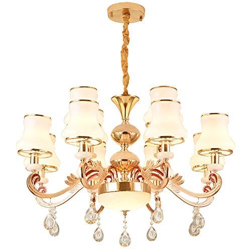 Roségouden kroonluchter, LED Oosterse klassieke antiek goud K9 kristal diamant kaarsen glas lampenkap op lange arm hanglampen, woonkamer slaapkamer eettafel Art Deco