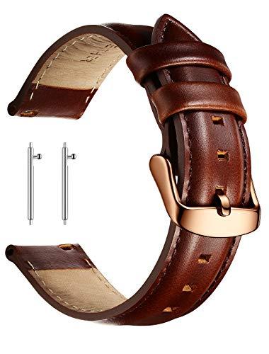 XIRUVE Correa de Reloj de Cuero Genuino Reemplazo Liberación Rápida Mujer Hombre 18-22mm (22mm, Marron, Hebilla de Oro Rosado)