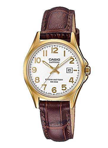 CASIO Damen Analog Quarz Uhr mit Leder Armband LTS-100GL-7AVEF
