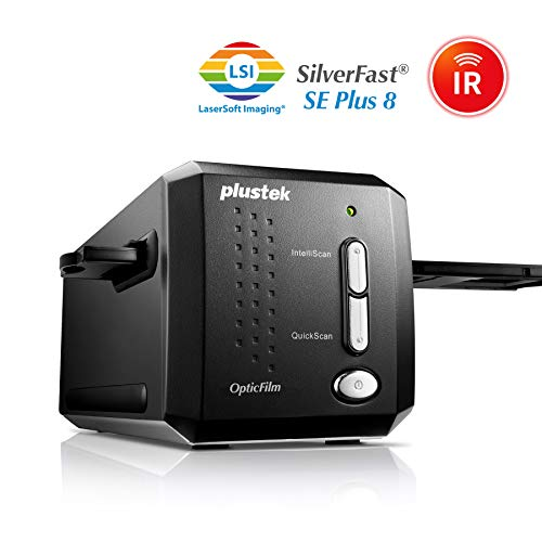 Plustek OpticFilm 8200I SE - Escáner (36,8 x 25,4 mm, 7200 x 7200 dpi, IrDA, USB 2.0, Film/Slide, Negro, CCD)