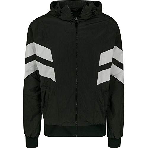 Urban Classics Herren Jacke Crinkle Panel Track Jacket Blk/Wht Größe: M
