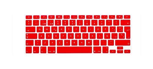 Euro EU ESP - Funda protectora para teclado para MacBook Air Pro Retina 13 15 A1502 A1398, color rojo