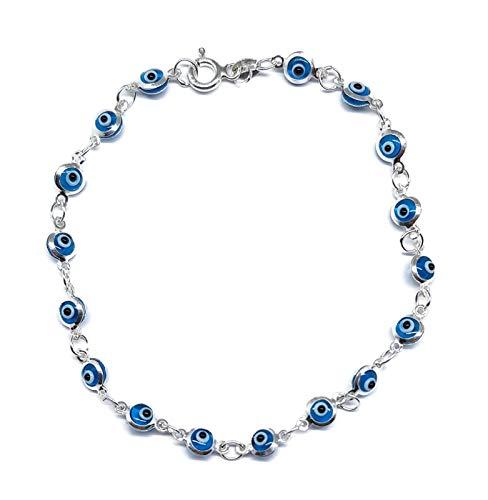 MYSTIC JEWELS by Dalia - Pulsera de Plata Mal de Ojo - 19cm (Azul Claro)