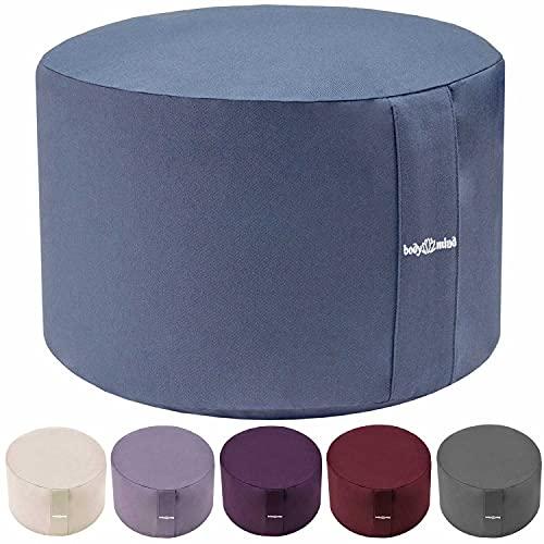 Body & Mind® Yogakissen Meditationskissen Boden Sitz-Kissen Polster für Meditation & Yoga; waschbarer Bezug und atmungsaktiver Premium Füllung; 18 cm Sitzhöhe (Blau)