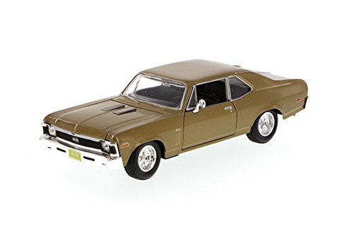 Maisto 1970 Chevy Nova SS, Gold 34262 - 1/24 Scale Diecast Model Toy Car, but NO Box