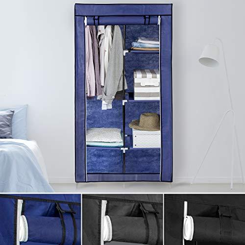Floordirekt Armario plegable Emilio | armario para la ropa | transpirable y resistente a la humedad | Carga máxima de 20 kg | 3 colores (azul oscuro)