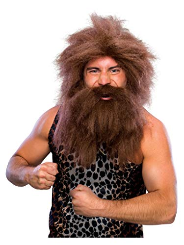 Rubie's Characters Caveman Beard and Set Wig, Brown, One Size